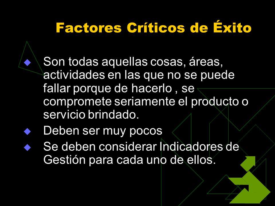 Factores Críticos de Éxito Son todas aquellas cosas, áreas, actividades en las que no se puede fallar porque de hacerlo, se compromete seriamente el p