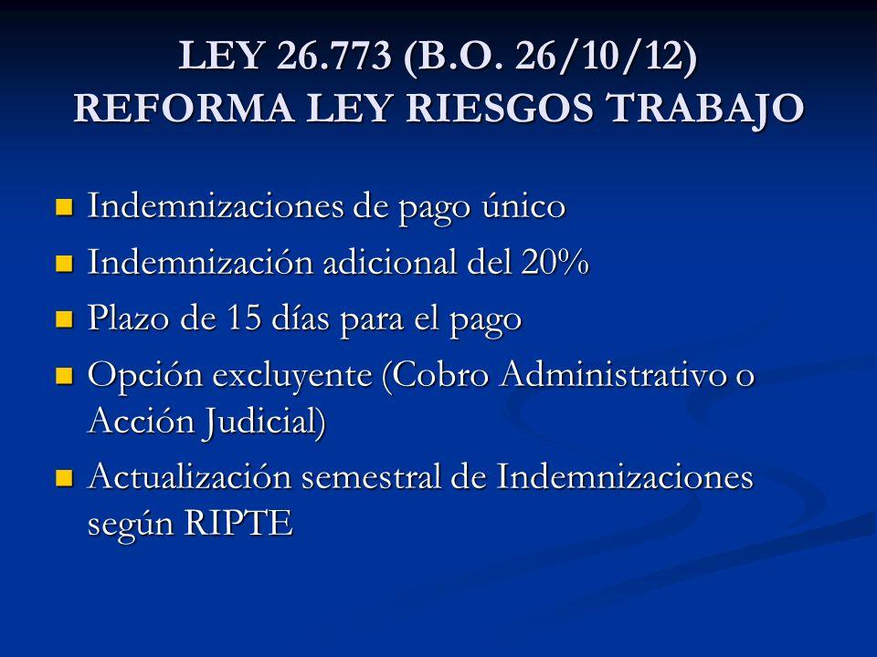 LEY 26.773 (B.O. 26/10/12) REFORMA LEY RIESGOS TRABAJO Indemnizaciones de pago único Indemnizaciones de pago único Indemnización adicional del 20% Ind