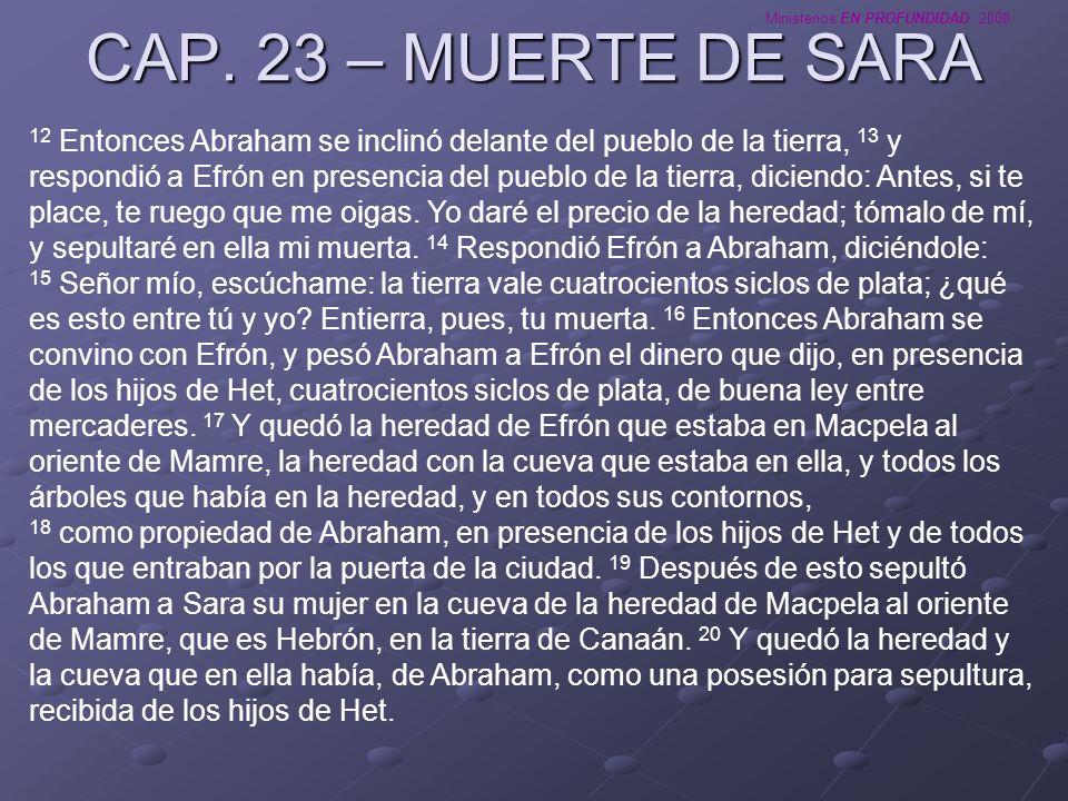 Ministerios EN PROFUNDIDAD 2008 CAP. 23 – MUERTE DE SARA 12 Entonces Abraham se inclinó delante del pueblo de la tierra, 13 y respondió a Efrón en pre