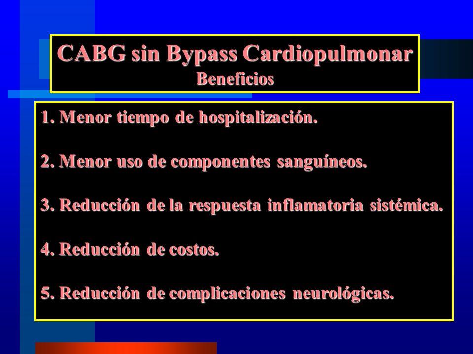 CABG sin Bypass Cardiopulmonar Beneficios 1. Menor tiempo de hospitalización. 2. Menor uso de componentes sanguíneos. 3. Reducción de la respuesta inf