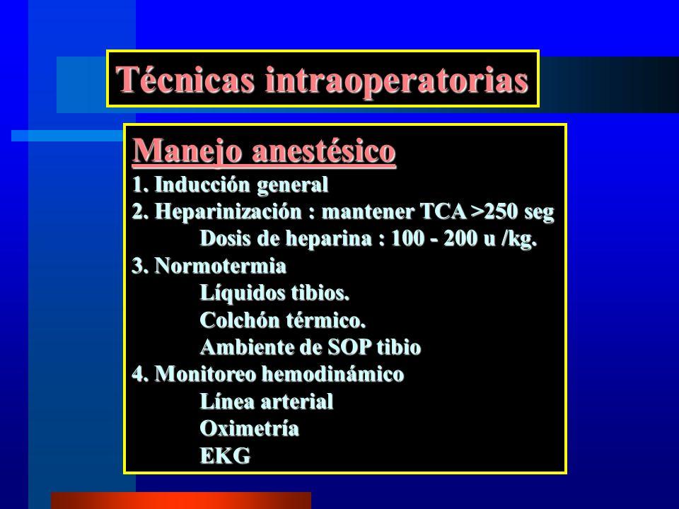 Técnicas intraoperatorias Manejo anestésico 1. Inducción general 2. Heparinización : mantener TCA >250 seg Dosis de heparina : 100 - 200 u /kg. 3. Nor