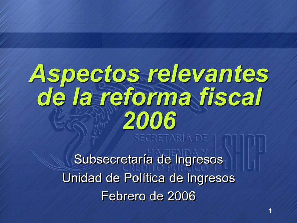 1 Aspectos relevantes de la reforma fiscal 2006 Subsecretaría de Ingresos Unidad de Política de Ingresos Febrero de 2006 Subsecretaría de Ingresos Uni
