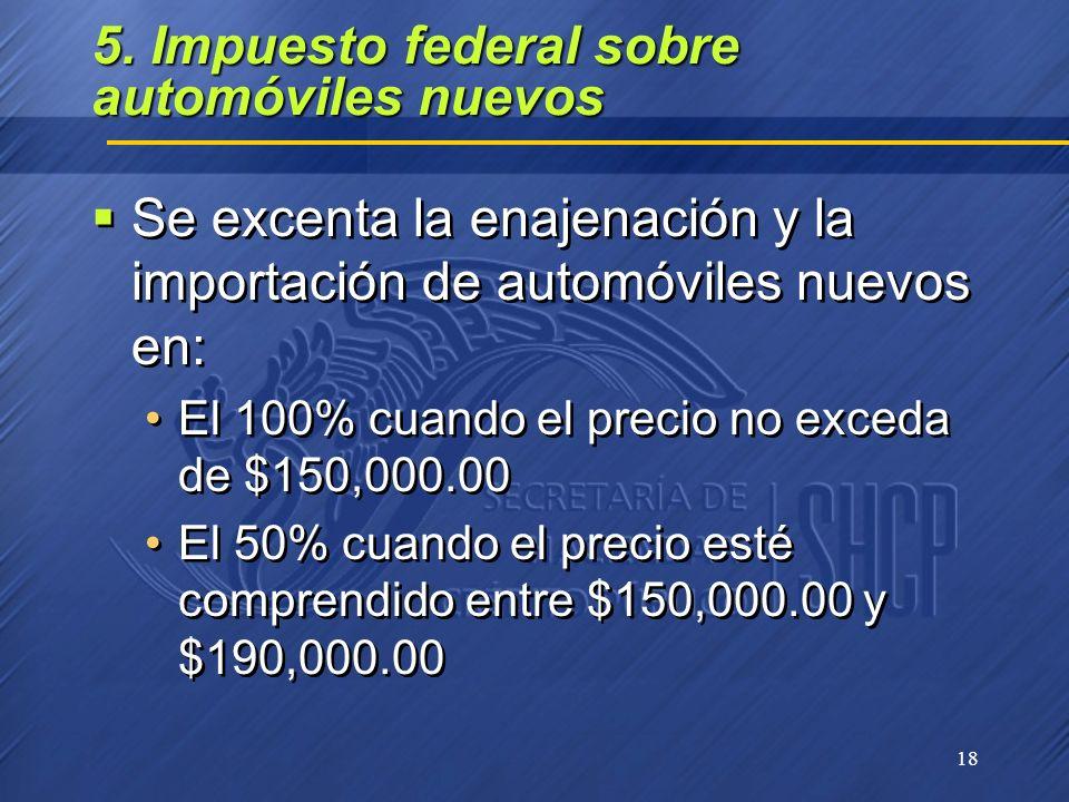 18 5. Impuesto federal sobre automóviles nuevos Se excenta la enajenación y la importación de automóviles nuevos en: El 100% cuando el precio no exced