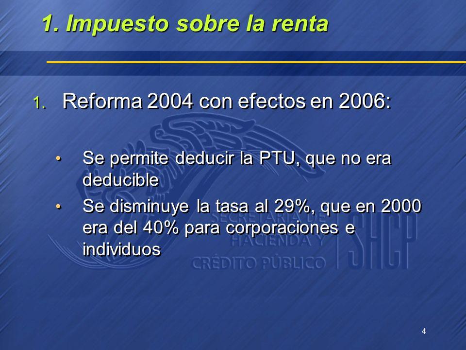 4 1. Impuesto sobre la renta 1. Reforma 2004 con efectos en 2006: Se permite deducir la PTU, que no era deducible Se disminuye la tasa al 29%, que en