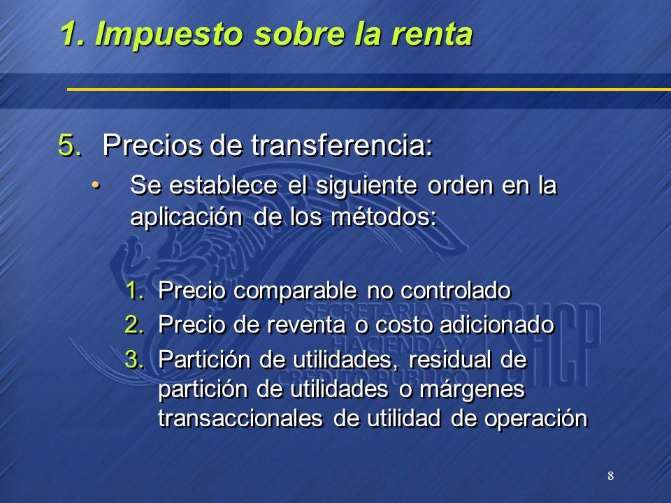 8 5.Precios de transferencia: Se establece el siguiente orden en la aplicación de los métodos: 1.Precio comparable no controlado 2.Precio de reventa o