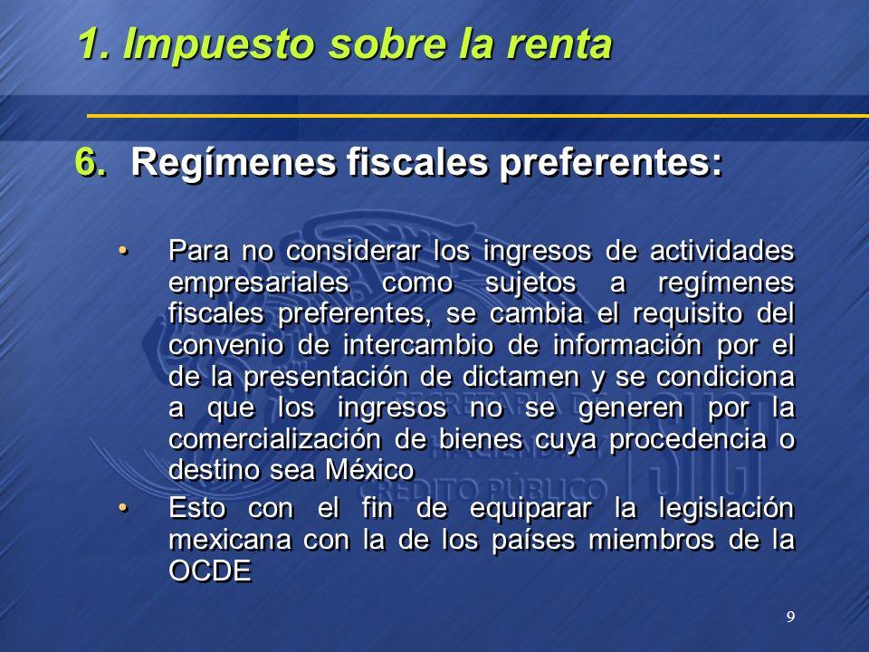9 6.Regímenes fiscales preferentes: Para no considerar los ingresos de actividades empresariales como sujetos a regímenes fiscales preferentes, se cam