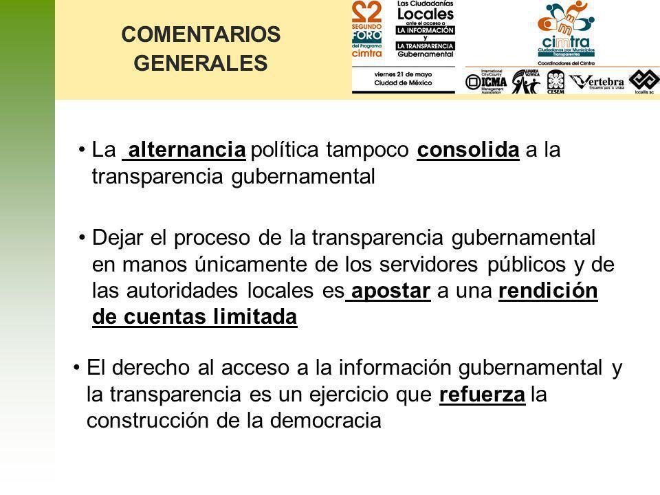 Dejar el proceso de la transparencia gubernamental en manos únicamente de los servidores públicos y de las autoridades locales es apostar a una rendic