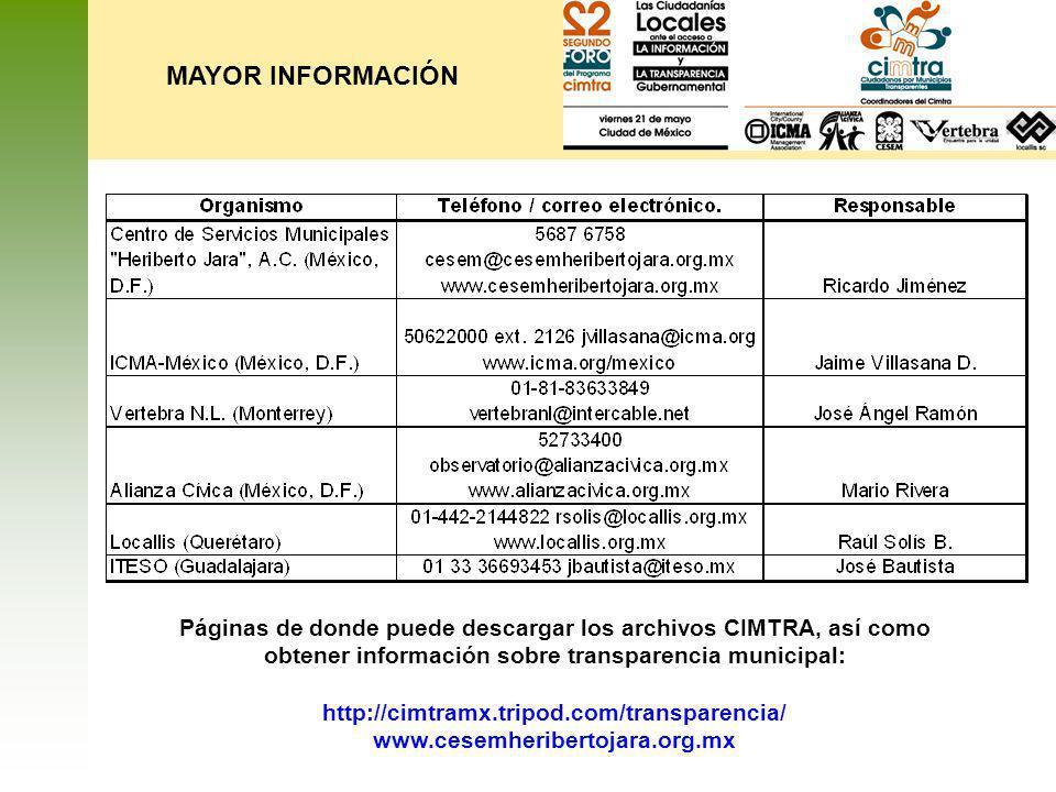 MAYOR INFORMACIÓN Páginas de donde puede descargar los archivos CIMTRA, así como obtener información sobre transparencia municipal: http://cimtramx.tr