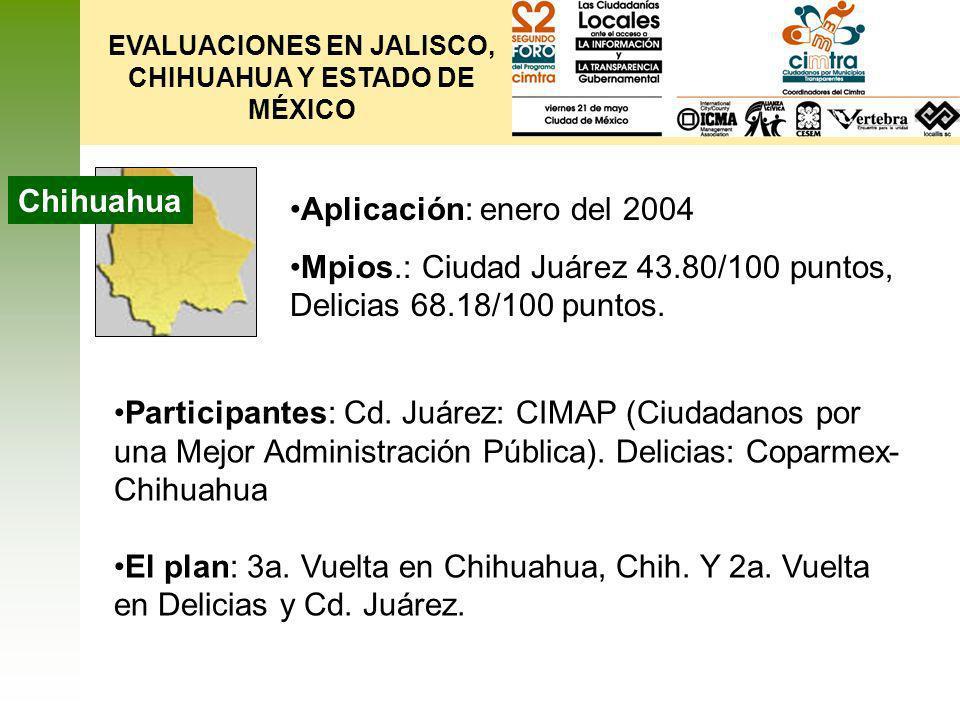EVALUACIONES EN JALISCO, CHIHUAHUA Y ESTADO DE MÉXICO Edo.
