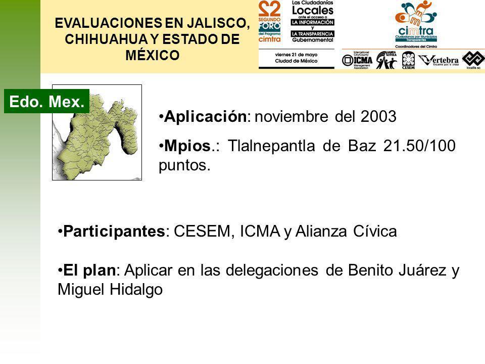 EVALUACIONES EN JALISCO, CHIHUAHUA Y ESTADO DE MÉXICO Edo. Mex. Participantes: CESEM, ICMA y Alianza Cívica El plan: Aplicar en las delegaciones de Be