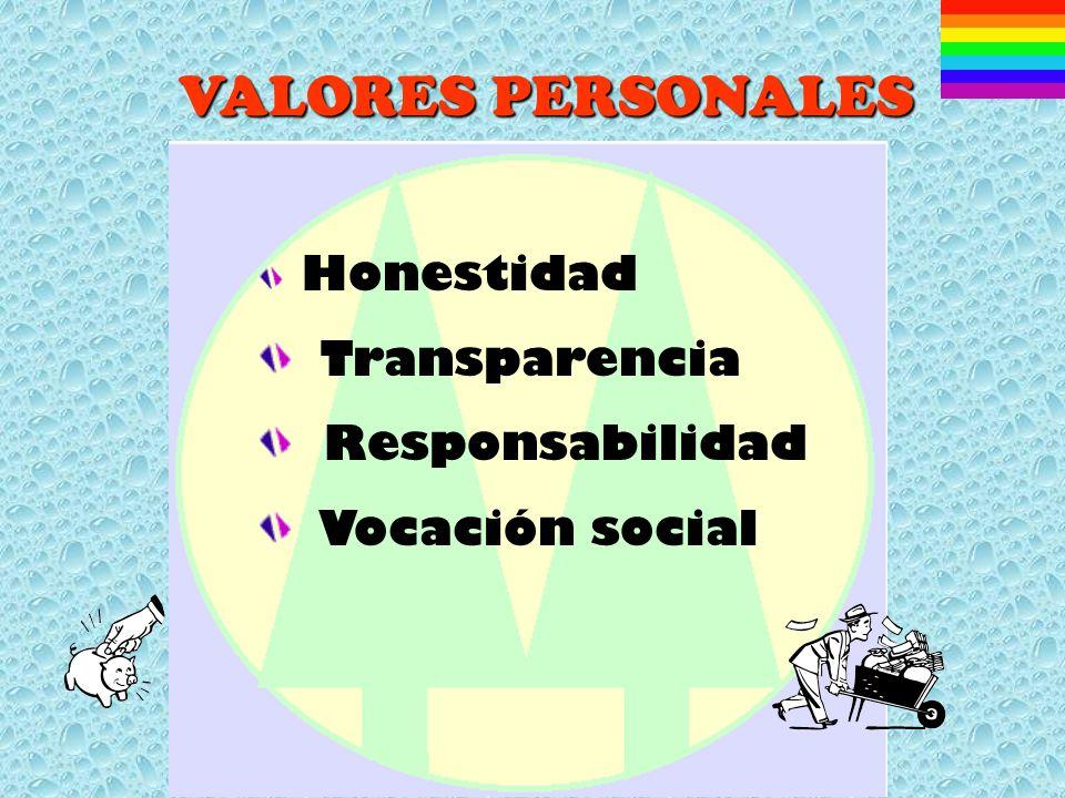 VALORES PERSONALES Honestidad Transparencia Responsabilidad Vocación social