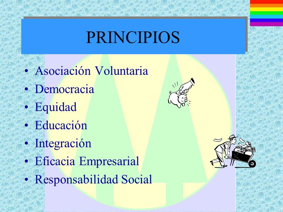 PRINCIPIOS Asociación Voluntaria Democracia Equidad Educación Integración Eficacia Empresarial Responsabilidad Social