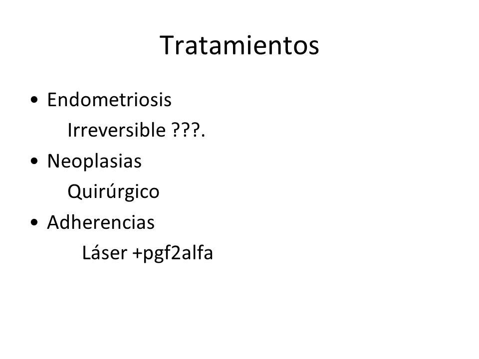 Tratamientos Endometriosis Irreversible ???. Neoplasias Quirúrgico Adherencias Láser +pgf2alfa