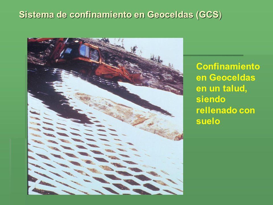 Sistema de confinamiento en Geoceldas (GCS) Confinamiento en Geoceldas en un talud, siendo rellenado con suelo