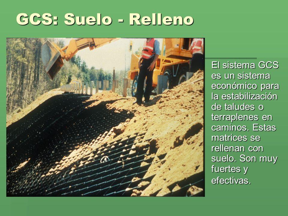 GCS: Suelo - Relleno El sistema GCS es un sistema económico para la estabilización de taludes o terraplenes en caminos. Estas matrices se rellenan con