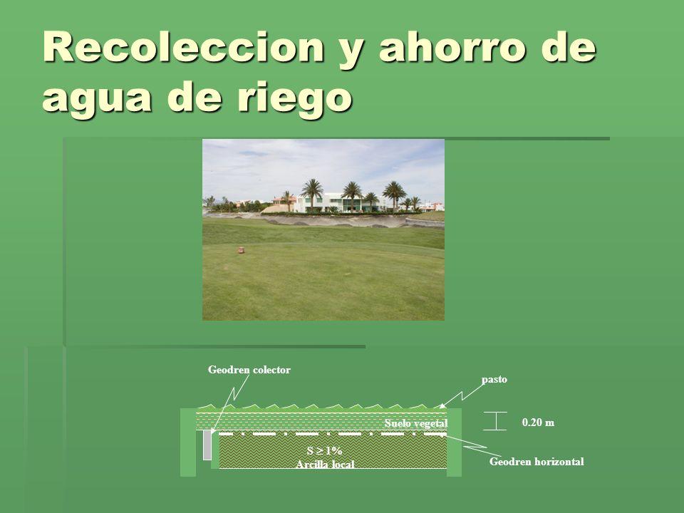 Recoleccion y ahorro de agua de riego S 1% Arcilla local Suelo vegetal 0.20 m Geodren horizontal Geodren colector pasto