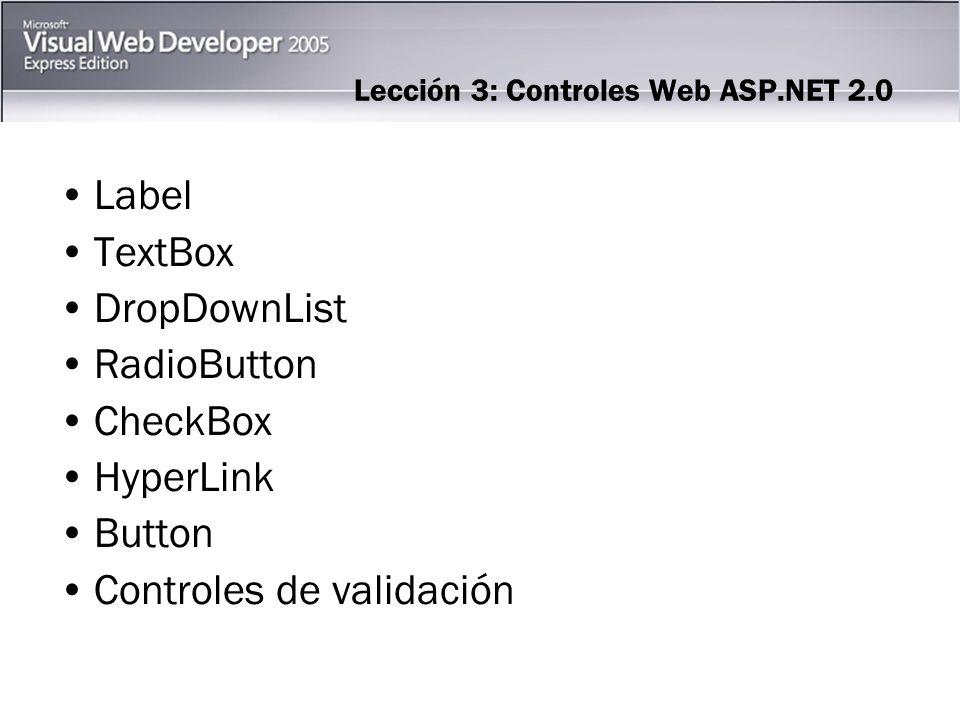 Label El control de servidor Web Label le permite establecer texto en una página ASP.NET.
