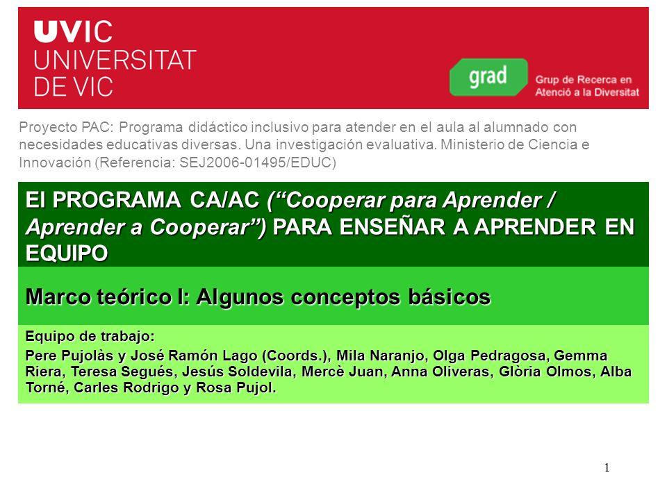 Curso 2011-20121 El PROGRAMA CA/AC (Cooperar para Aprender / Aprender a Cooperar) PARA ENSEÑAR A APRENDER EN EQUIPO Proyecto PAC: Programa didáctico i