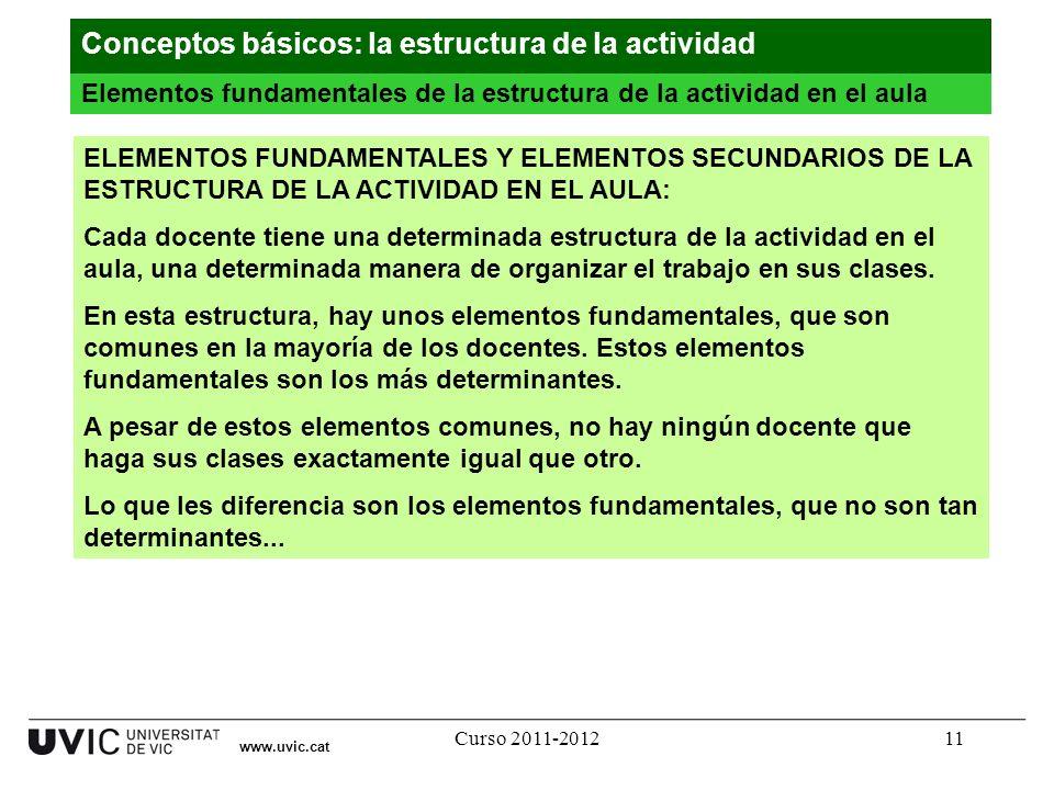Curso 2011-201211 ELEMENTOS FUNDAMENTALES Y ELEMENTOS SECUNDARIOS DE LA ESTRUCTURA DE LA ACTIVIDAD EN EL AULA: Cada docente tiene una determinada estr