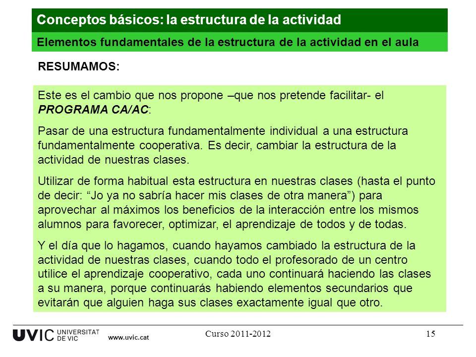 Curso 2011-201215 www.uvic.cat RESUMAMOS: Este es el cambio que nos propone –que nos pretende facilitar- el PROGRAMA CA/AC: Pasar de una estructura fu