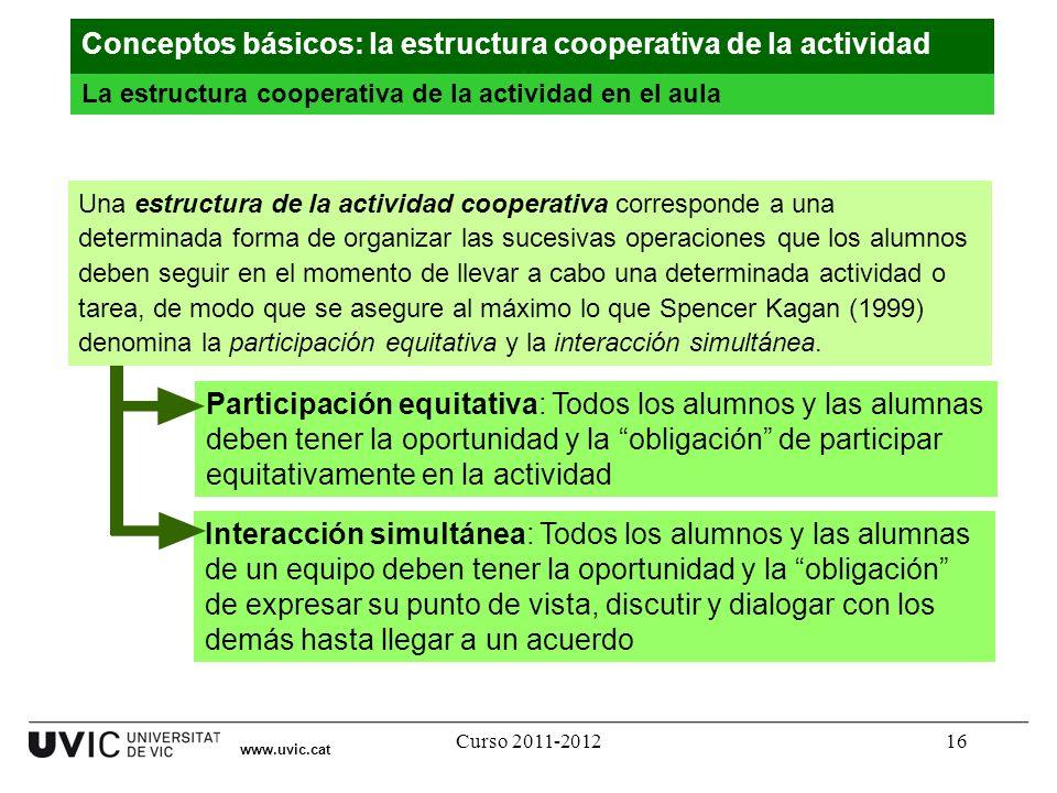 Curso 2011-201216 www.uvic.cat La estructura cooperativa de la actividad en el aula Conceptos básicos: la estructura cooperativa de la actividad Inter