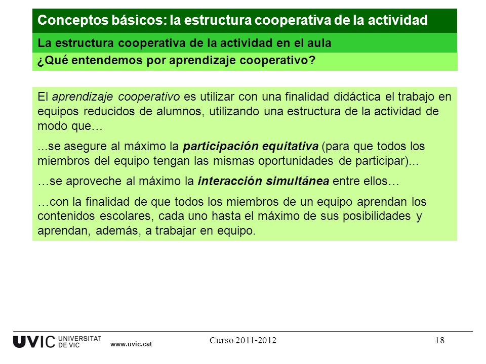 Curso 2011-201218 www.uvic.cat ¿Qué entendemos por aprendizaje cooperativo? Conceptos básicos: la estructura cooperativa de la actividad La estructura