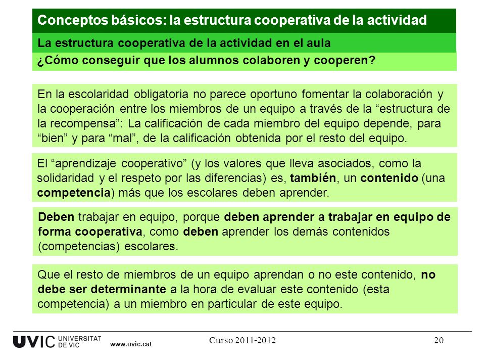 Curso 2011-201220 www.uvic.cat ¿Cómo conseguir que los alumnos colaboren y cooperen? Conceptos básicos: la estructura cooperativa de la actividad La e