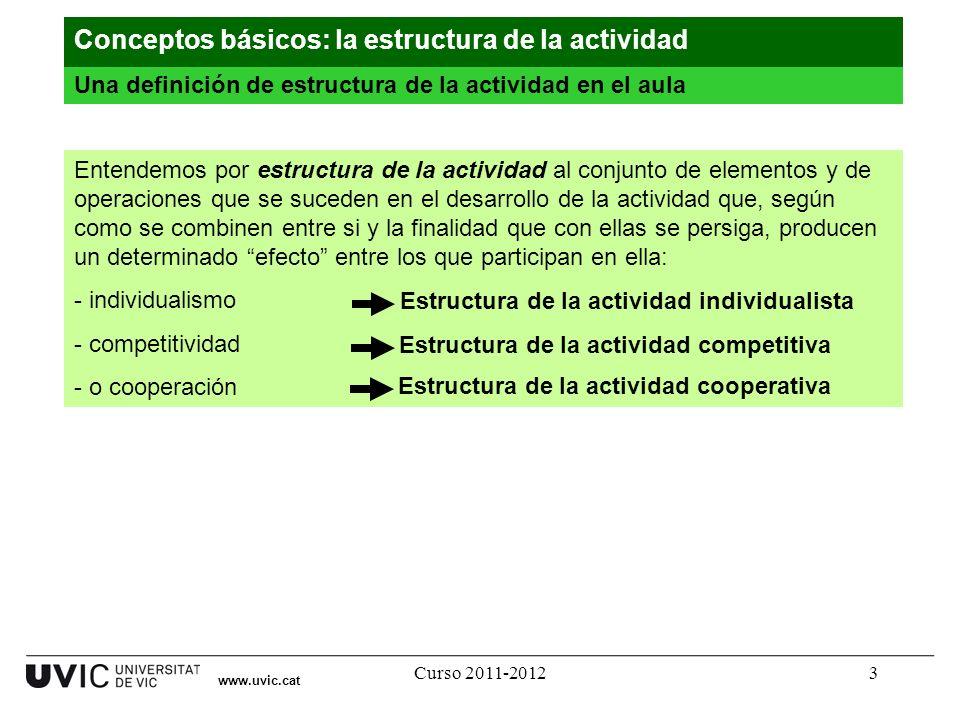 Curso 2011-20123 www.uvic.cat Una definición de estructura de la actividad en el aula Conceptos básicos: la estructura de la actividad Entendemos por
