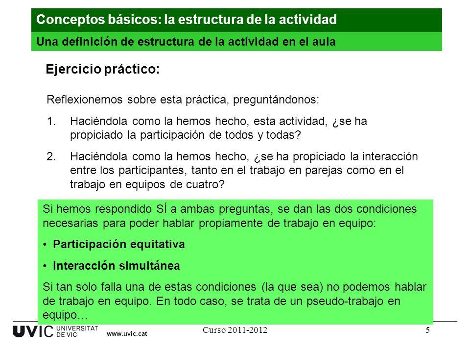 Curso 2011-20125 Reflexionemos sobre esta práctica, preguntándonos: 1.Haciéndola como la hemos hecho, esta actividad, ¿se ha propiciado la participaci