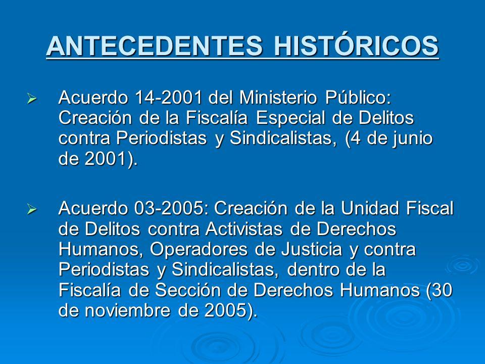 ANTECEDENTES HISTÓRICOS Acuerdo 14-2001 del Ministerio Público: Creación de la Fiscalía Especial de Delitos contra Periodistas y Sindicalistas, (4 de