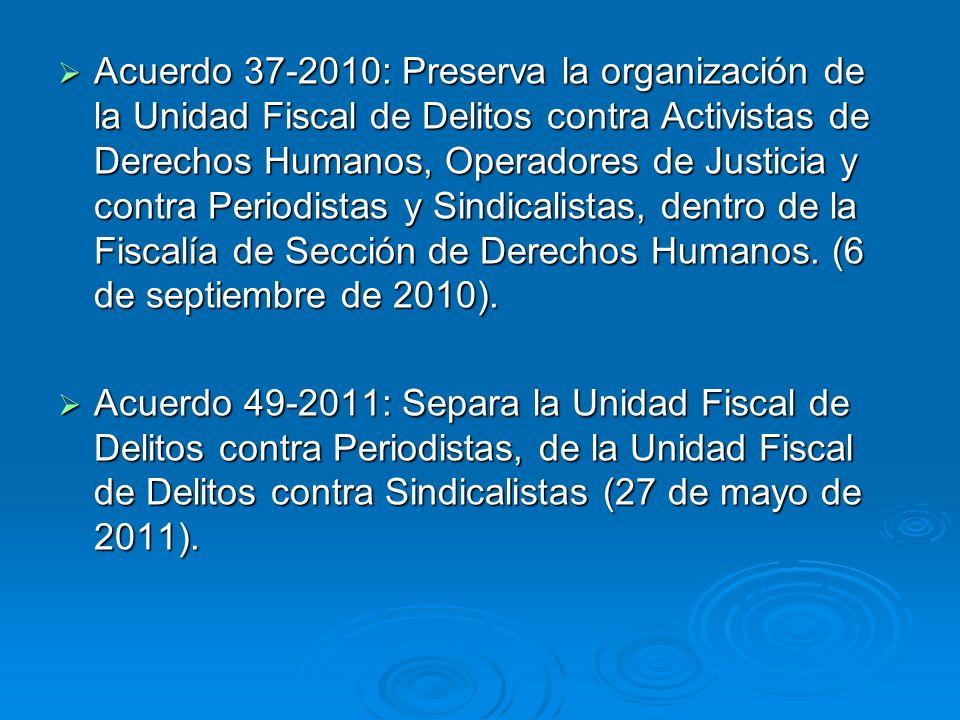 Acuerdo 37-2010: Preserva la organización de la Unidad Fiscal de Delitos contra Activistas de Derechos Humanos, Operadores de Justicia y contra Period