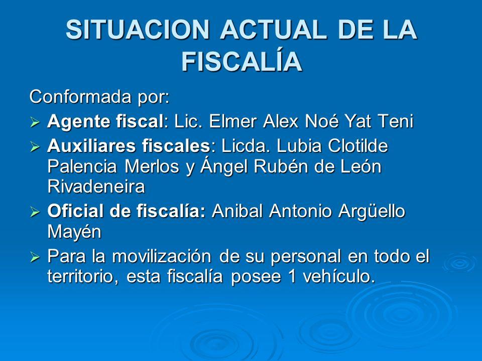 SITUACION ACTUAL DE LA FISCALÍA Conformada por: Agente fiscal: Lic. Elmer Alex Noé Yat Teni Agente fiscal: Lic. Elmer Alex Noé Yat Teni Auxiliares fis