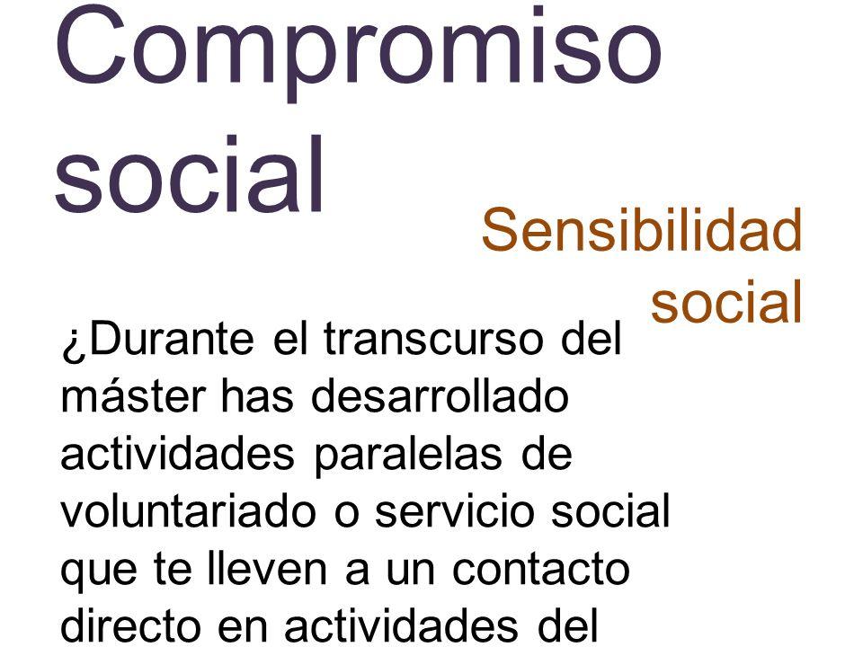 Compromiso social Sensibilidad social ¿Durante el transcurso del máster has desarrollado actividades paralelas de voluntariado o servicio social que t