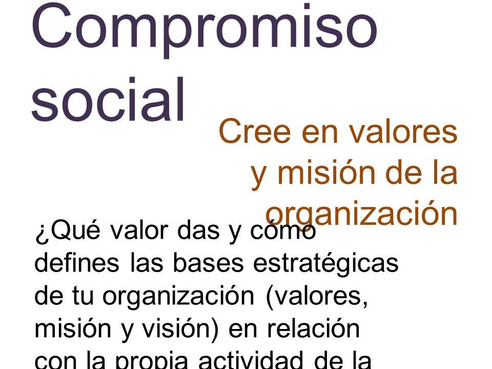 Compromiso social Cree en valores y misión de la organización ¿Qué valor das y cómo defines las bases estratégicas de tu organización (valores, misión
