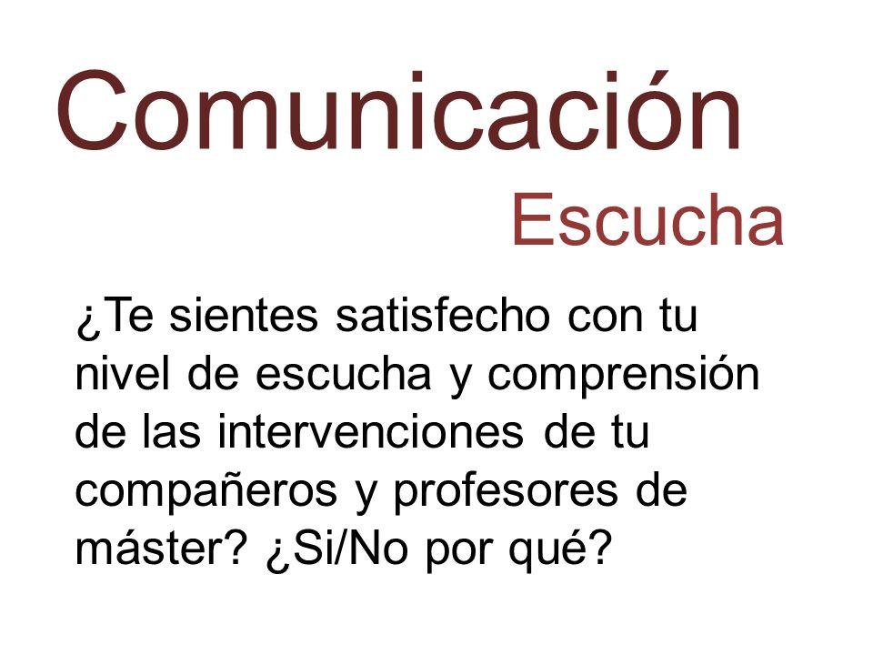 Comunicación Escucha ¿Te sientes satisfecho con tu nivel de escucha y comprensión de las intervenciones de tu compañeros y profesores de máster? ¿Si/N