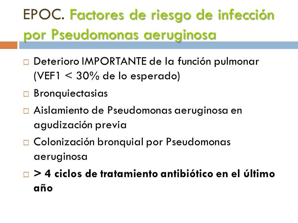 Factores de riesgo de infección por Pseudomonas aeruginosa EPOC. Factores de riesgo de infección por Pseudomonas aeruginosa Deterioro IMPORTANTE de la