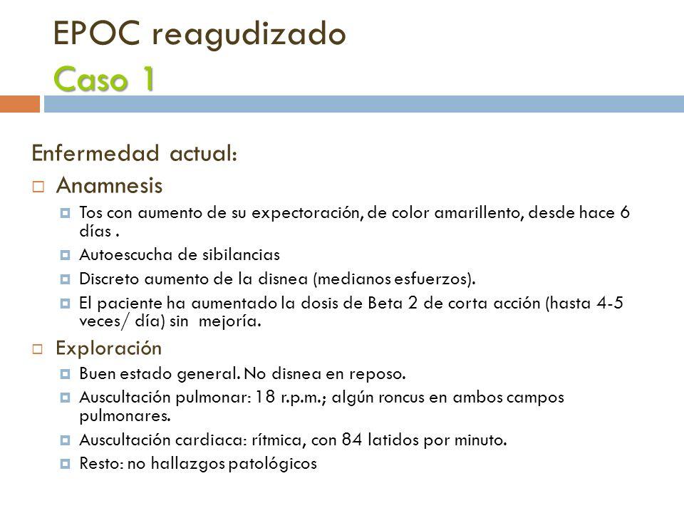 Caso 1 EPOC reagudizado Caso 1 Enfermedad actual: Anamnesis Tos con aumento de su expectoración, de color amarillento, desde hace 6 días. Autoescucha