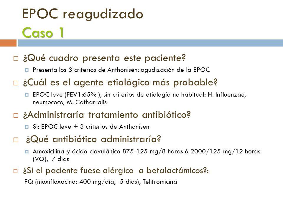 Caso 1 EPOC reagudizado Caso 1 ¿Qué cuadro presenta este paciente? Presenta los 3 criterios de Anthonisen: agudización de la EPOC ¿Cuál es el agente e