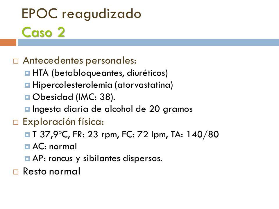 Caso 2 EPOC reagudizado Caso 2 Antecedentes personales: HTA (betabloqueantes, diuréticos) Hipercolesterolemia (atorvastatina) Obesidad (IMC: 38). Inge