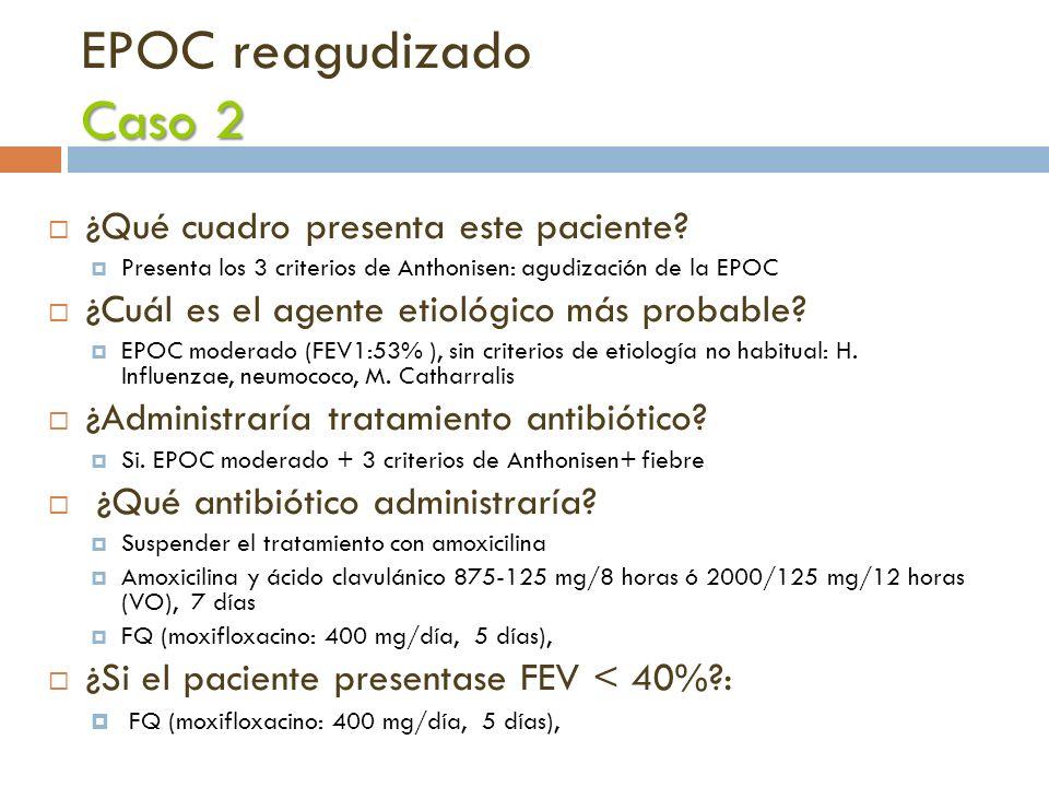 Caso 2 EPOC reagudizado Caso 2 ¿Qué cuadro presenta este paciente? Presenta los 3 criterios de Anthonisen: agudización de la EPOC ¿Cuál es el agente e