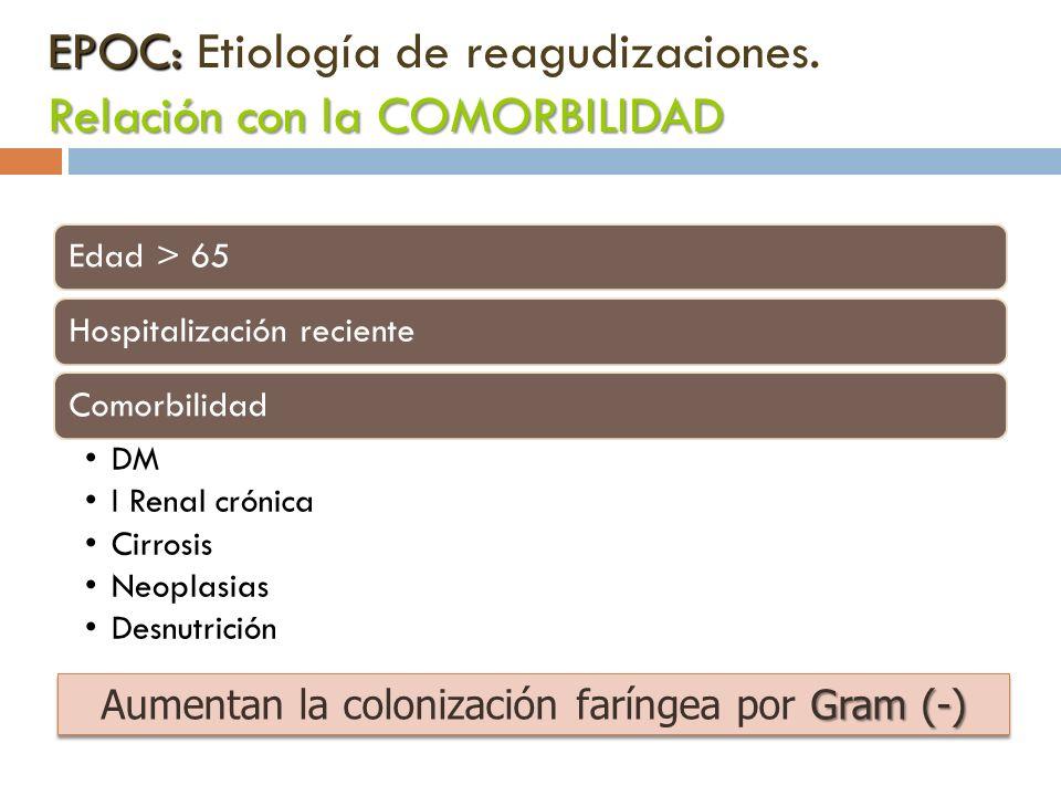 EPOC: Relación con la COMORBILIDAD EPOC: Etiología de reagudizaciones. Relación con la COMORBILIDAD Edad > 65Hospitalización recienteComorbilidad DM I