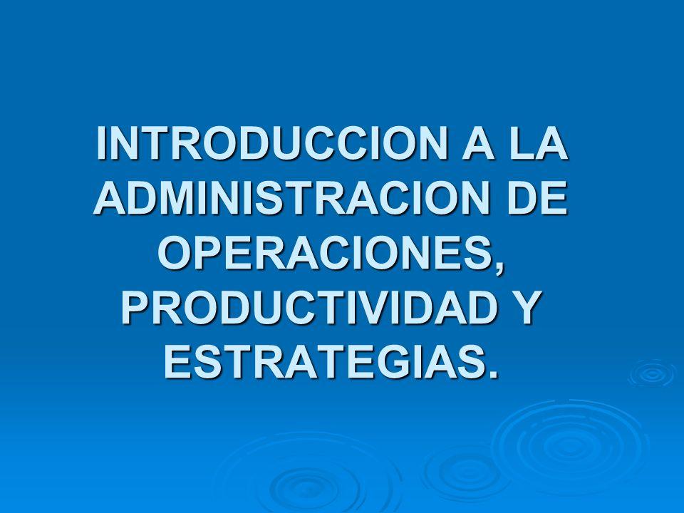 INTRODUCCION A LA ADMINISTRACION DE OPERACIONES, PRODUCTIVIDAD Y ESTRATEGIAS.