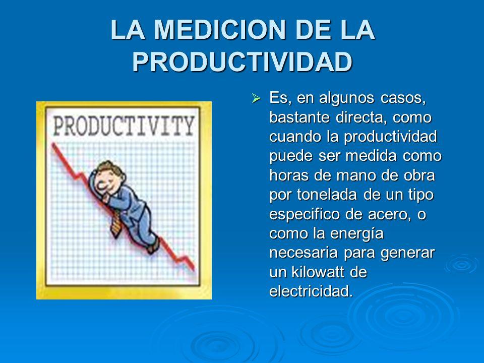 LA MEDICION DE LA PRODUCTIVIDAD Es, en algunos casos, bastante directa, como cuando la productividad puede ser medida como horas de mano de obra por t