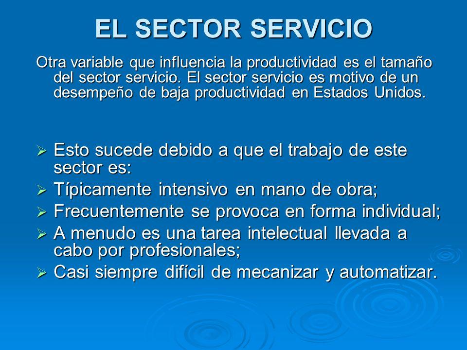 EL SECTOR SERVICIO Otra variable que influencia la productividad es el tamaño del sector servicio. El sector servicio es motivo de un desempeño de baj