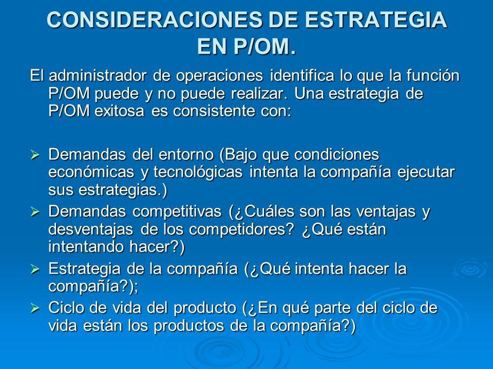 CONSIDERACIONES DE ESTRATEGIA EN P/OM. El administrador de operaciones identifica lo que la función P/OM puede y no puede realizar. Una estrategia de