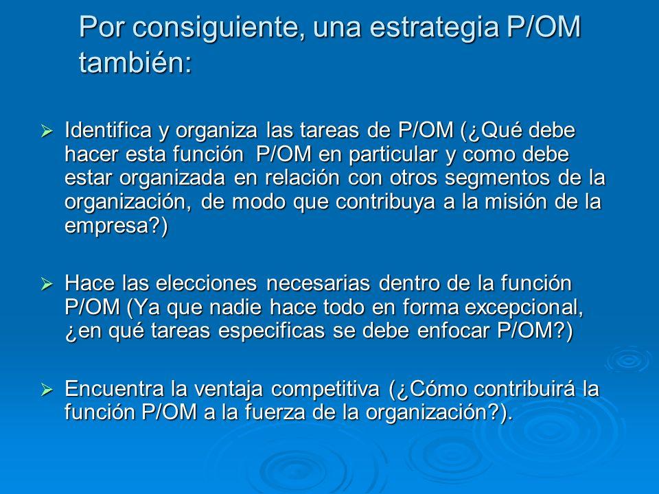Por consiguiente, una estrategia P/OM también: Identifica y organiza las tareas de P/OM (¿Qué debe hacer esta función P/OM en particular y como debe e