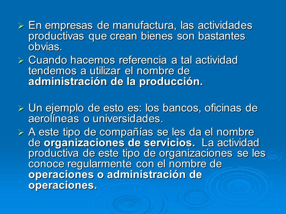 En empresas de manufactura, las actividades productivas que crean bienes son bastantes obvias. En empresas de manufactura, las actividades productivas