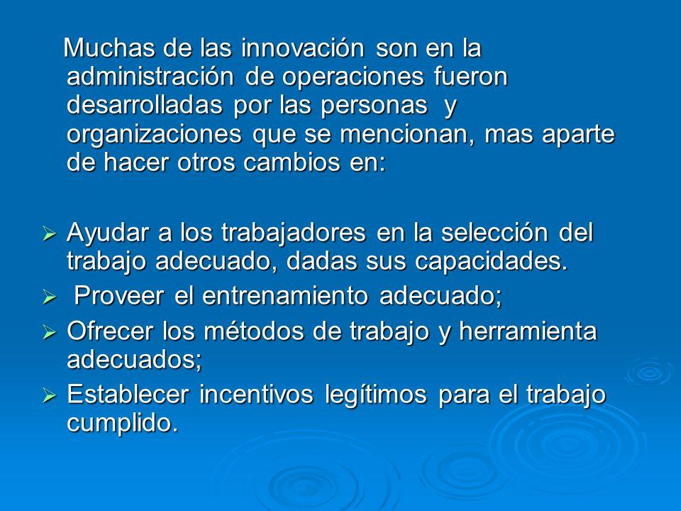 Muchas de las innovación son en la administración de operaciones fueron desarrolladas por las personas y organizaciones que se mencionan, mas aparte d