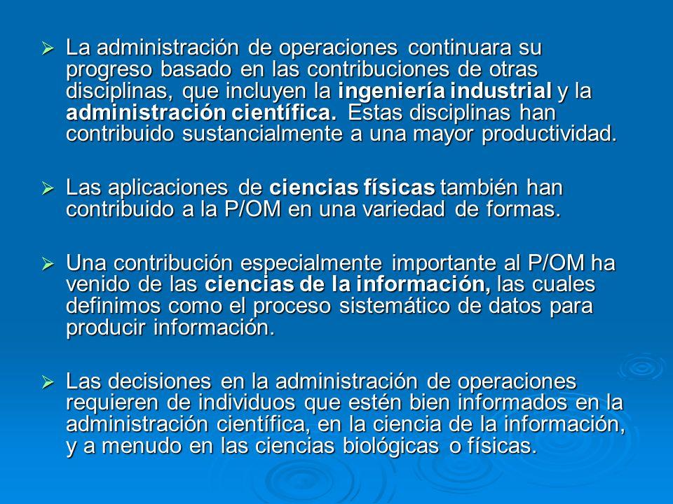 La administración de operaciones continuara su progreso basado en las contribuciones de otras disciplinas, que incluyen la ingeniería industrial y la