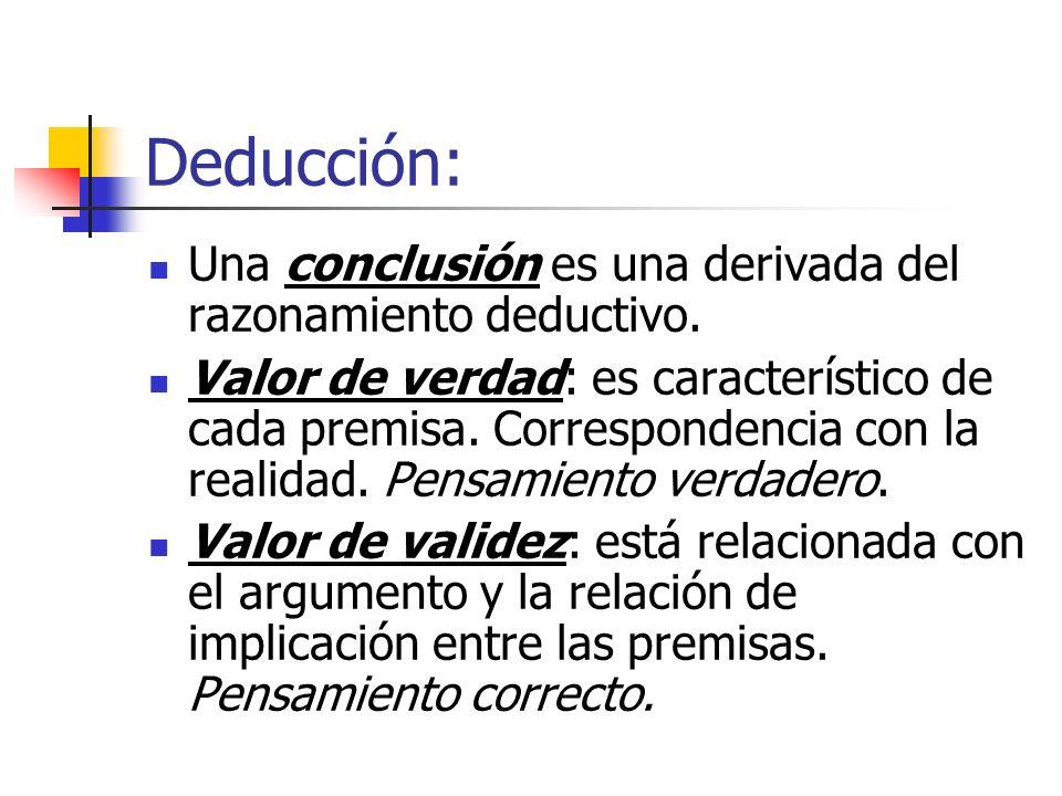 Deducción: Una conclusión es una derivada del razonamiento deductivo. Valor de verdad: es característico de cada premisa. Correspondencia con la reali
